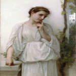 William Bouguereau (1825-1905)  Reverie [Revery]  Oil on canvas, 1894  44 x 27 7/8 inches (112 x 71 cm)  Private collection